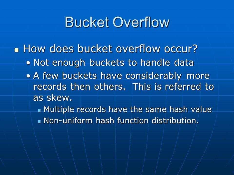Bucket Overflow How does bucket overflow occur. How does bucket overflow occur.