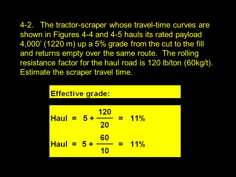 4-2. The tractor-scraper whose travel-time curves are shown in Figures 4-4 and 4-5 hauls its rated payload 4,000' (1220 m) up a 5% grade from the cut
