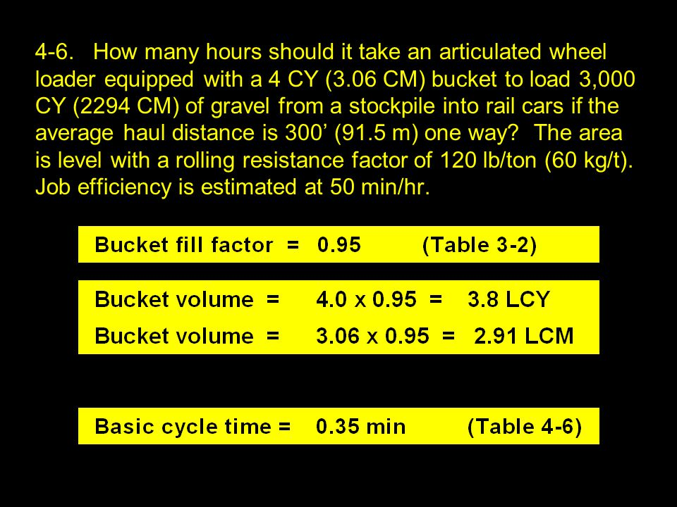 4-6. How many hours should it take an articulated wheel loader equipped with a 4 CY (3.06 CM) bucket to load 3,000 CY (2294 CM) of gravel from a stock
