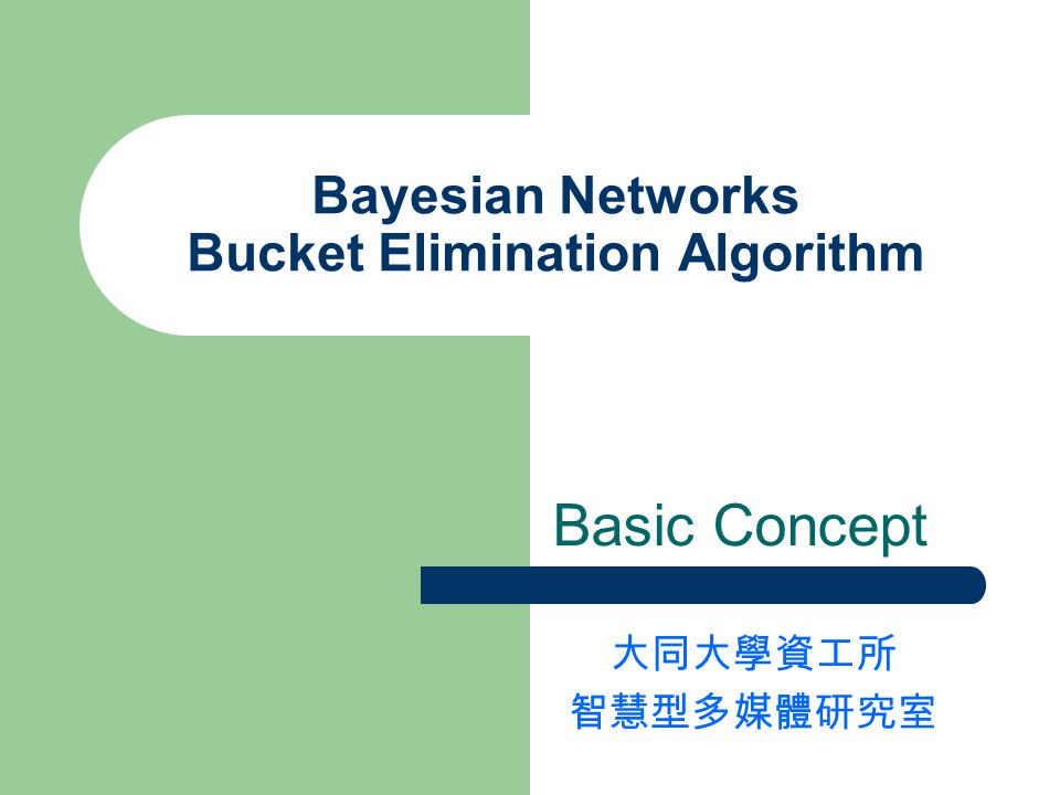 Bayesian Networks Bucket Elimination Algorithm Basic Concept 大同大學資工所 智慧型多媒體研究室