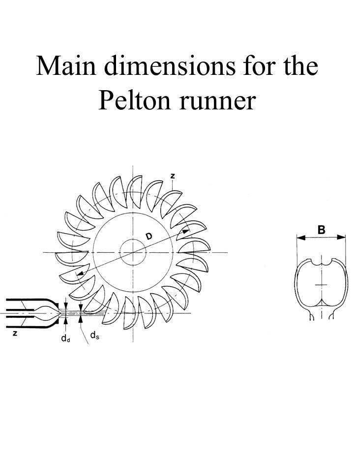 Main dimensions for the Pelton runner