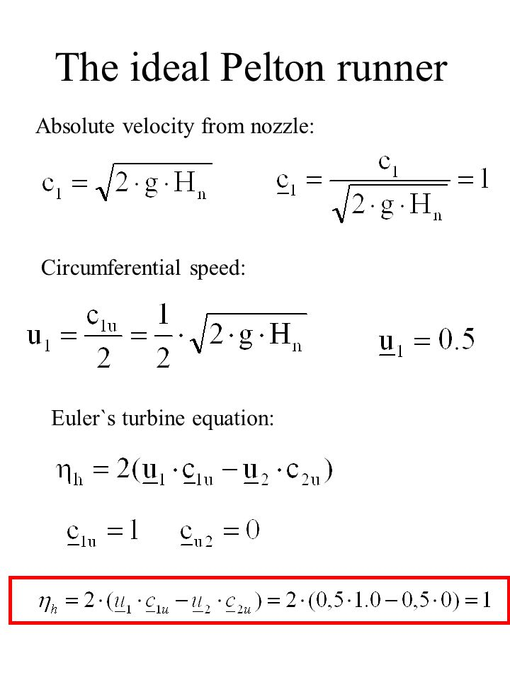 The ideal Pelton runner Absolute velocity from nozzle: Circumferential speed: Euler`s turbine equation: