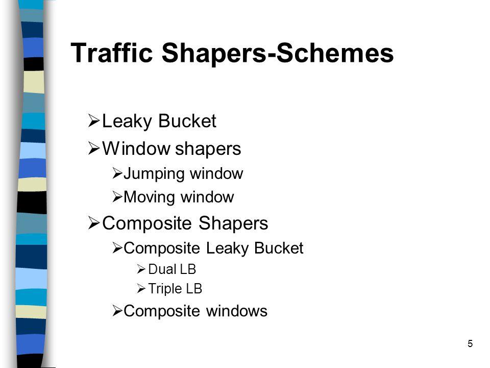 5 Traffic Shapers-Schemes  Leaky Bucket  Window shapers  Jumping window  Moving window  Composite Shapers  Composite Leaky Bucket  Dual LB  Triple LB  Composite windows