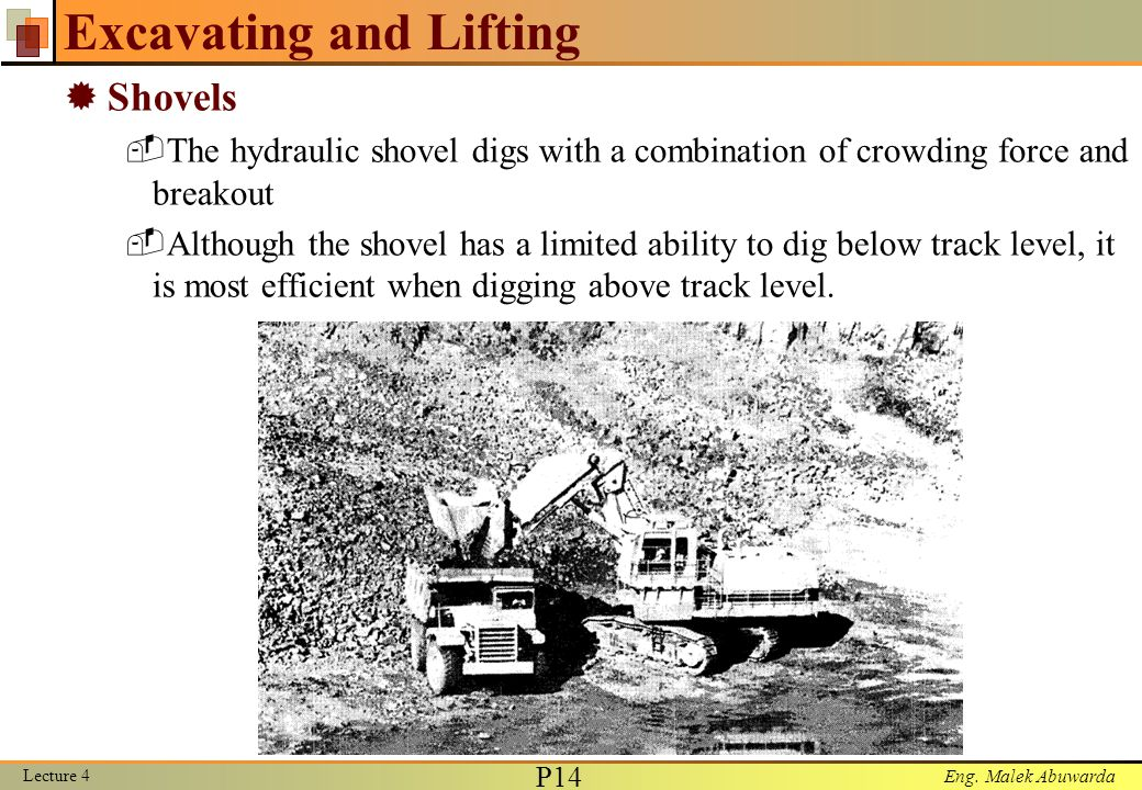 Eng. Malek Abuwarda Excavating and Lifting  Shovels  The hydraulic shovel digs with a combination of crowding force and breakout  Although the shov