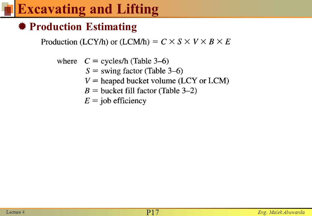 Eng. Malek Abuwarda Excavating and Lifting  Production Estimating Lecture 4 P17