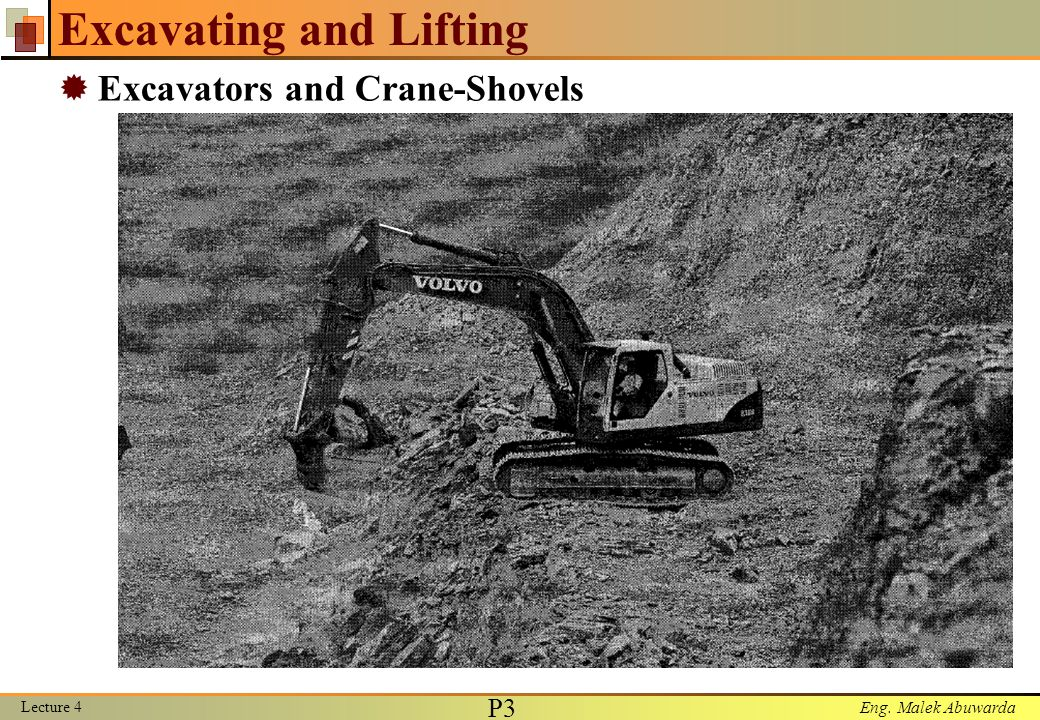 Eng. Malek Abuwarda Excavating and Lifting  Excavators and Crane-Shovels Lecture 4 P3P3