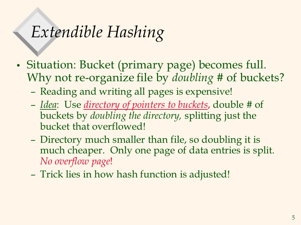 5 Extendible Hashing Situation: Bucket (primary page) becomes full.