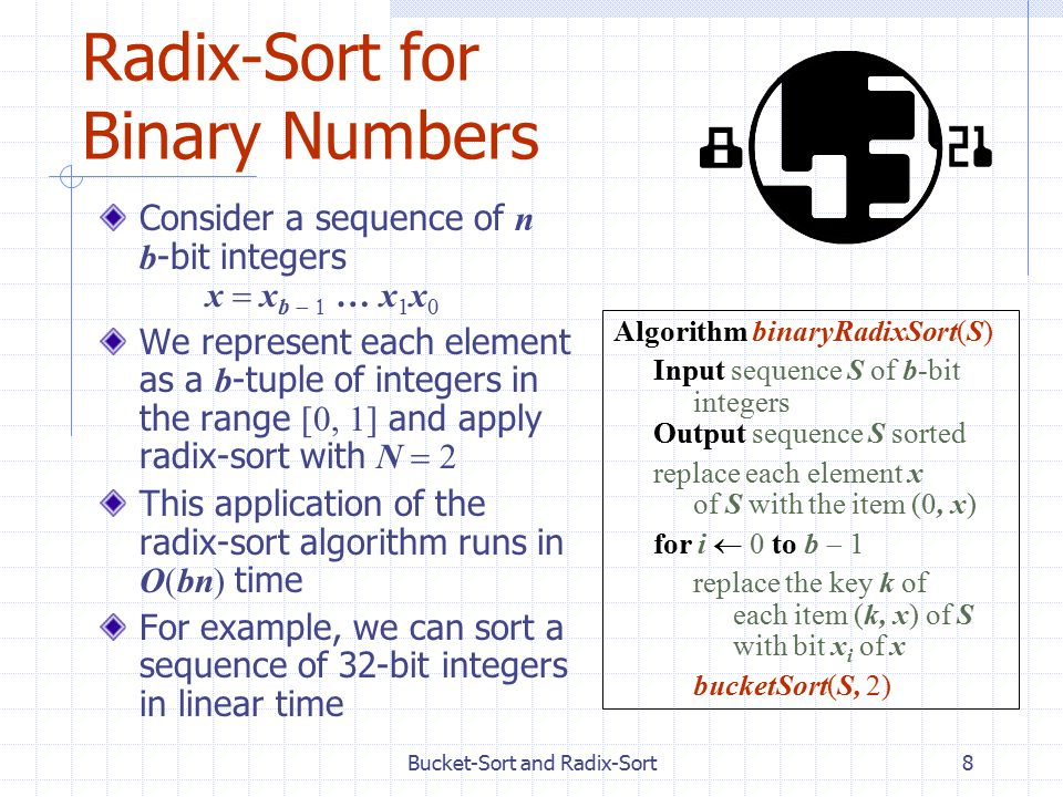 Bucket-Sort and Radix-Sort8 Radix-Sort for Binary Numbers Consider a sequence of n b -bit integers x  x b  … x 1 x 0 We represent each element as