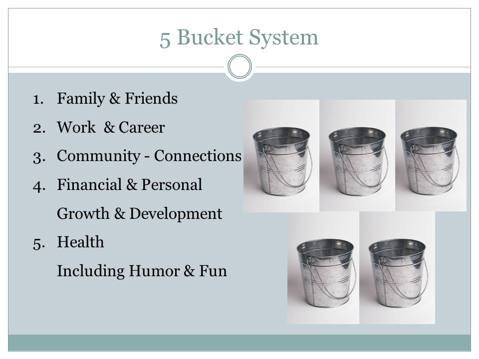 5 Bucket System 1.Family & Friends 2.Work & Career 3.Community - Connections 4.Financial & Personal Growth & Development 5.Health Including Humor & Fun
