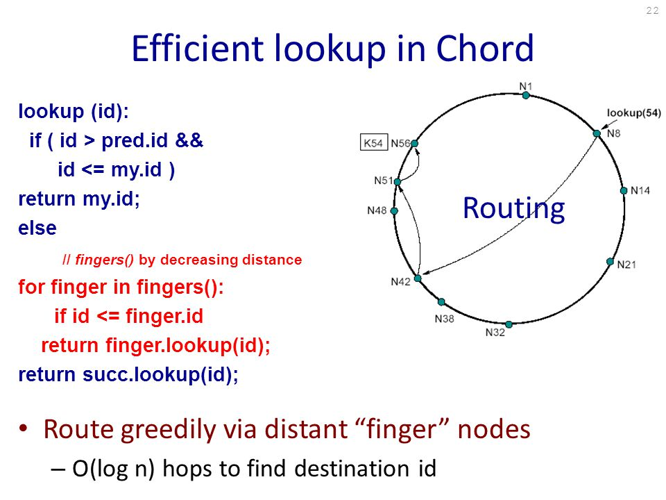 Efficient lookup in Chord lookup (id): if ( id > pred.id && id <= my.id ) return my.id; else // fingers() by decreasing distance for finger in fingers(): if id <= finger.id return finger.lookup(id); return succ.lookup(id); Route greedily via distant finger nodes – O(log n) hops to find destination id Routing 22