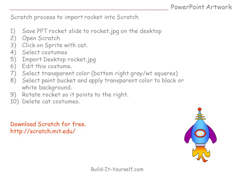 Scratch process to import rocket into Scratch 1)Save PPT rocket slide to rocket.jpg on the desktop 2)Open Scratch 3)Click on Sprite with cat. 4)Select