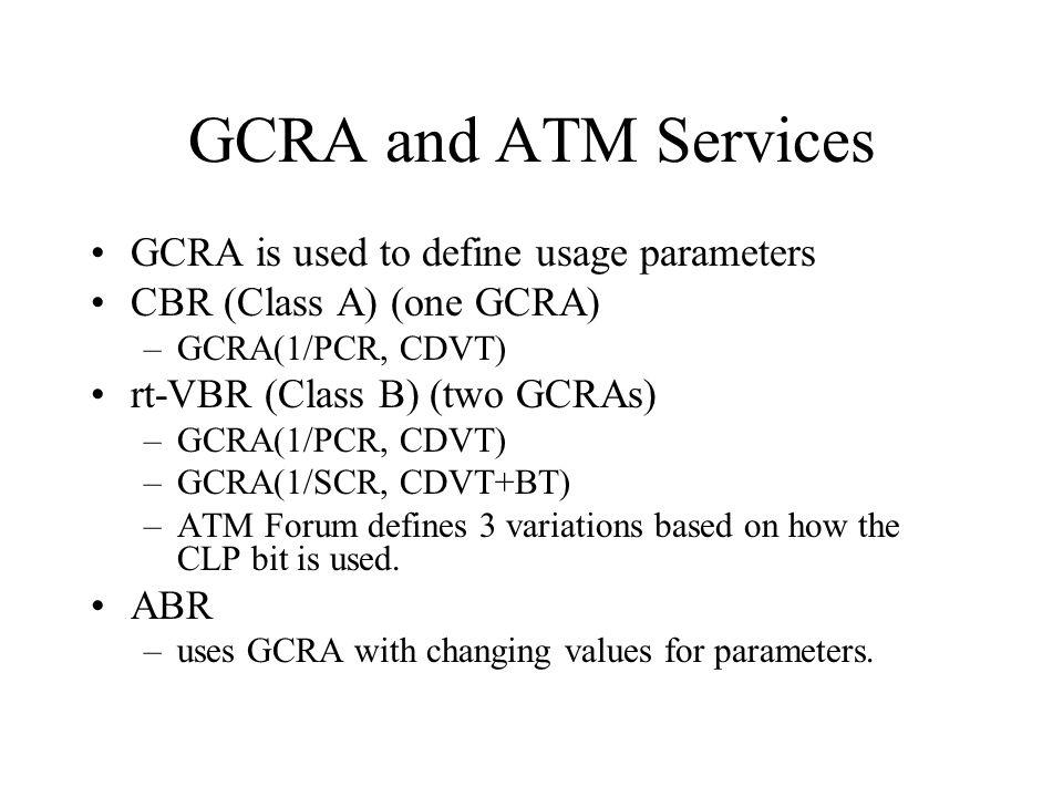 GCRA and ATM Services GCRA is used to define usage parameters CBR (Class A) (one GCRA) –GCRA(1/PCR, CDVT) rt-VBR (Class B) (two GCRAs) –GCRA(1/PCR, CD