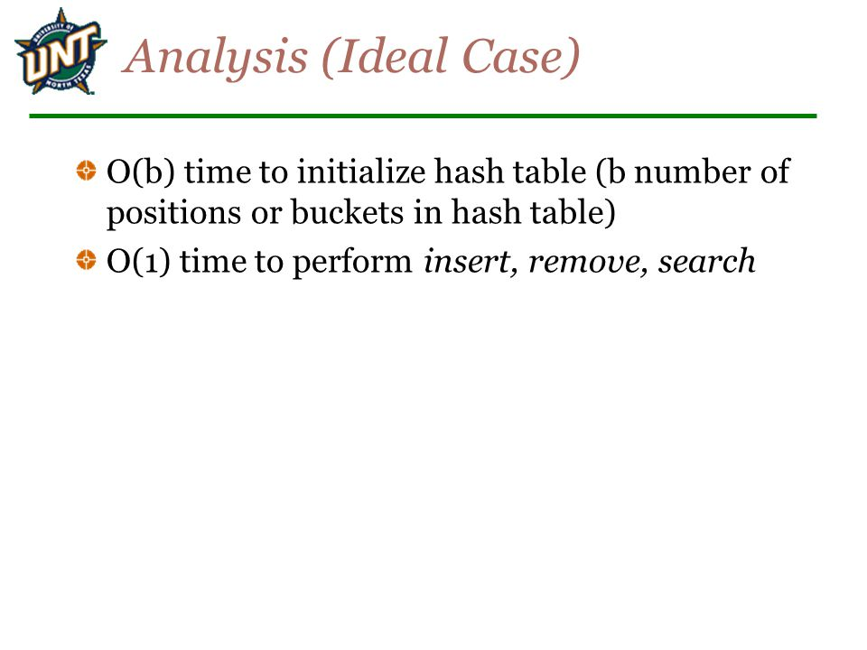 Ideal Case is Unrealistic Works for implementing dictionaries, but many applications have key ranges that are too large to have 1-1 mapping between buckets and keys.