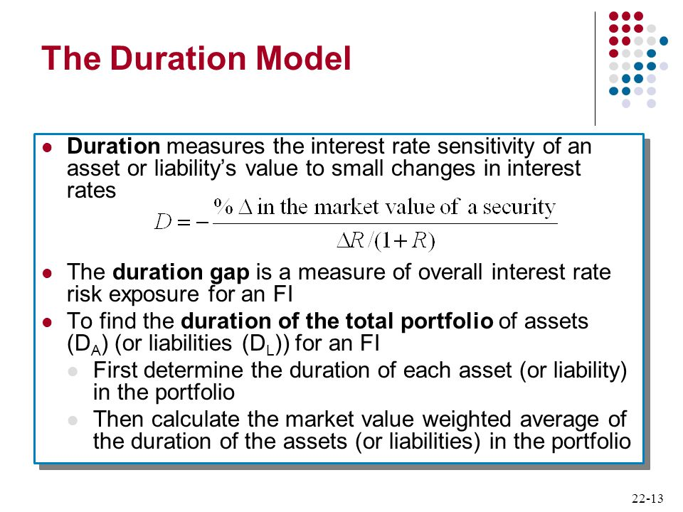 22-13 The Duration Model Duration measures the interest rate sensitivity of an asset or liability's value to small changes in interest rates The durat