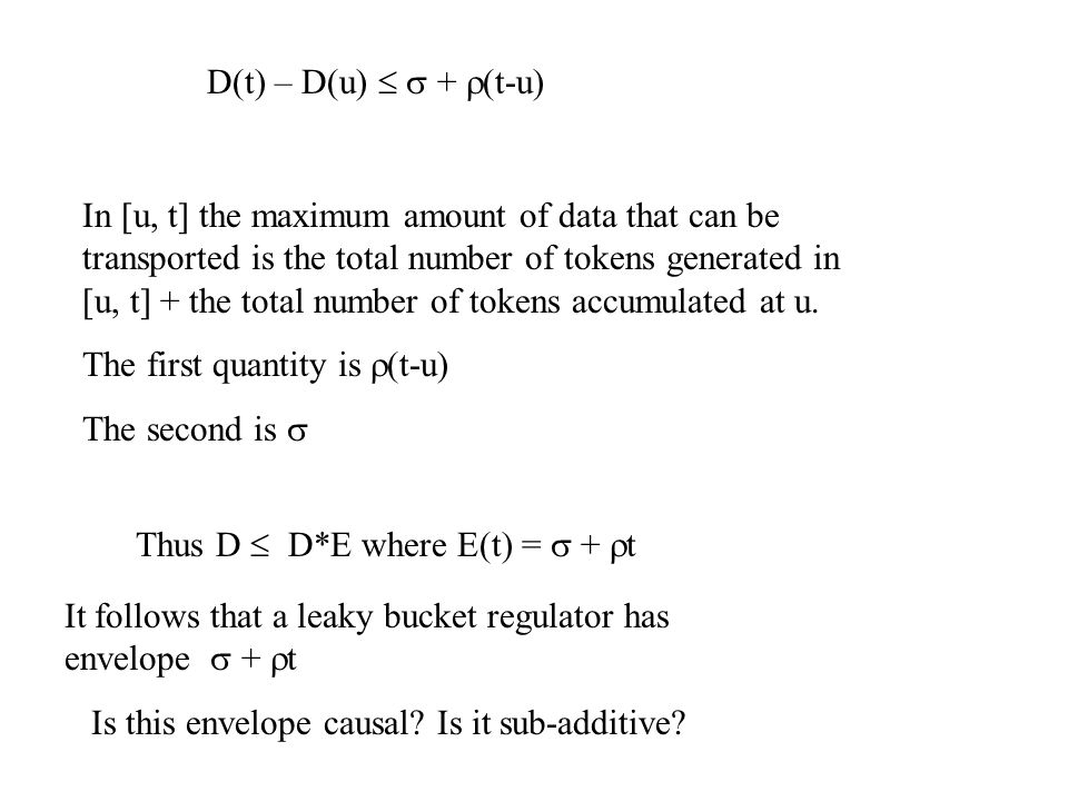 D(t) – D(u)   +  (t-u) In [u, t] the maximum amount of data that can be transported is the total number of tokens generated in [u, t] + the total number of tokens accumulated at u.