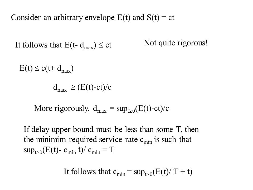 Consider an arbitrary envelope E(t) and S(t) = ct It follows that E(t- d max )  ct Not quite rigorous.