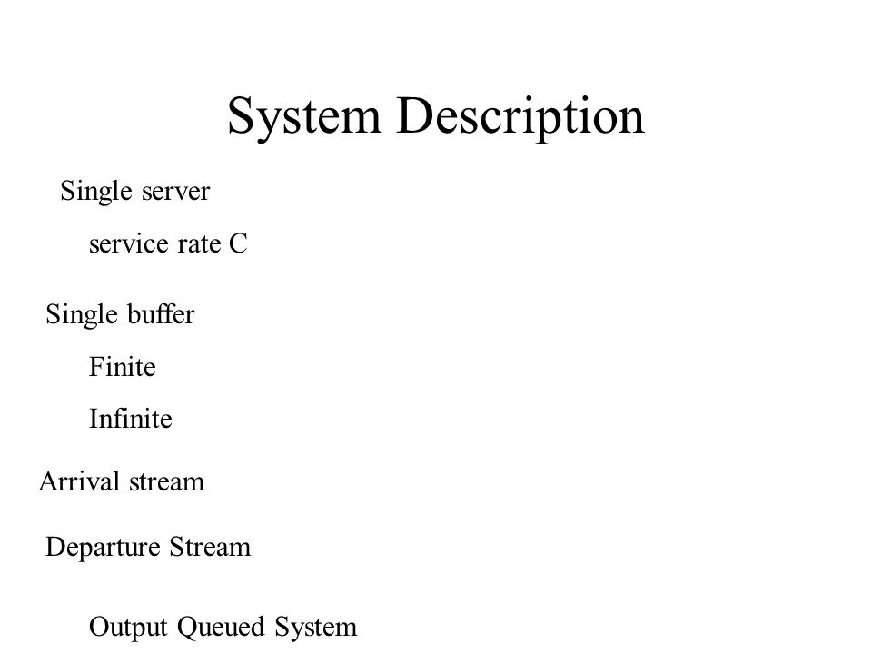 System Description Single server service rate C Single buffer Finite Infinite Arrival stream Departure Stream Output Queued System