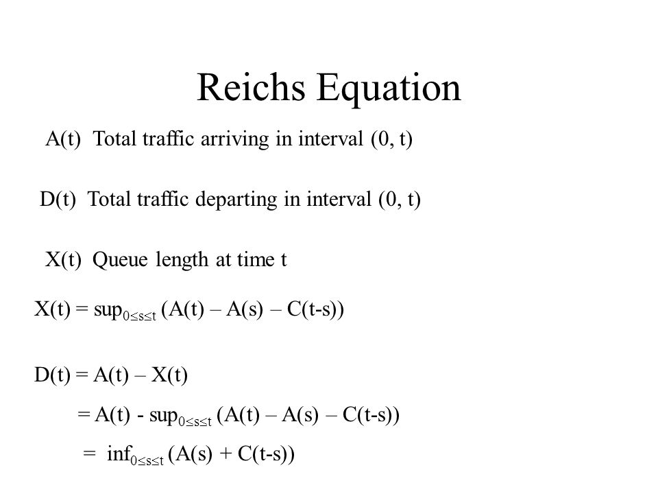 Reichs Equation A(t) Total traffic arriving in interval (0, t) D(t) Total traffic departing in interval (0, t) X(t) Queue length at time t X(t) = sup 0  s  t (A(t) – A(s) – C(t-s)) D(t) = A(t) – X(t) = A(t) - sup 0  s  t (A(t) – A(s) – C(t-s)) = inf 0  s  t (A(s) + C(t-s))