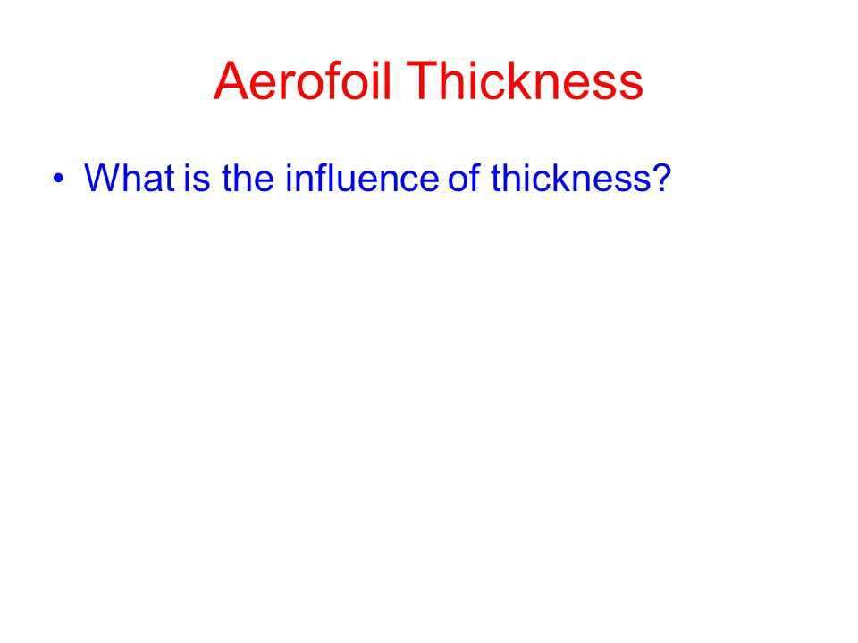 Aerofoil Thickness What is the influence of thickness?