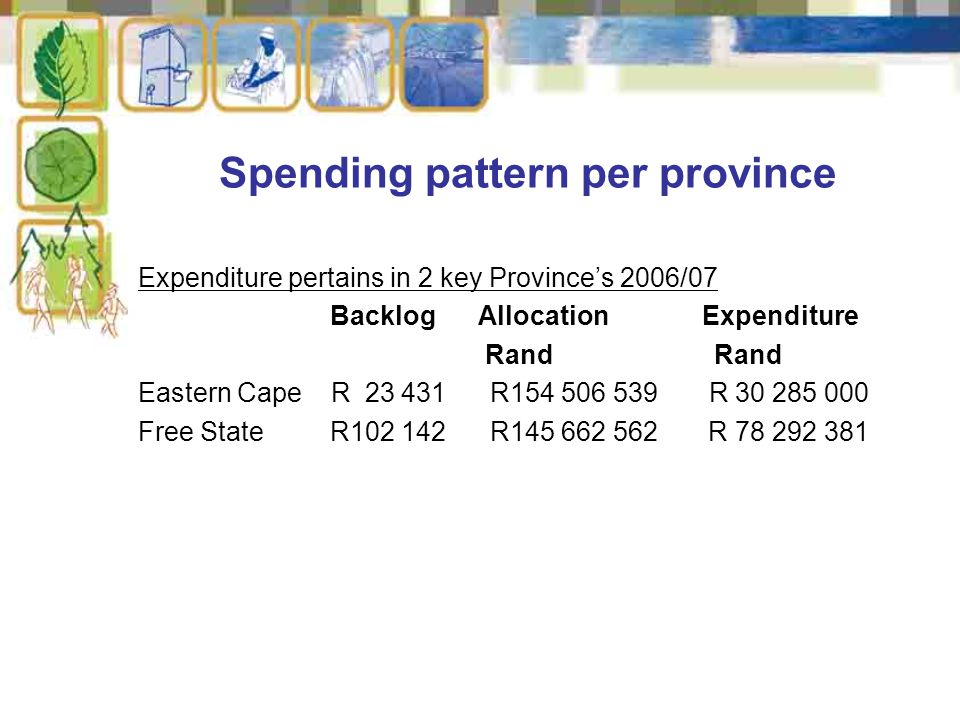Expenditure pertains in 2 key Province's 2006/07 Backlog Allocation Expenditure RandRand Eastern Cape R 23 431 R154 506 539 R 30 285 000 Free State R102 142 R145 662 562 R 78 292 381 Spending pattern per province