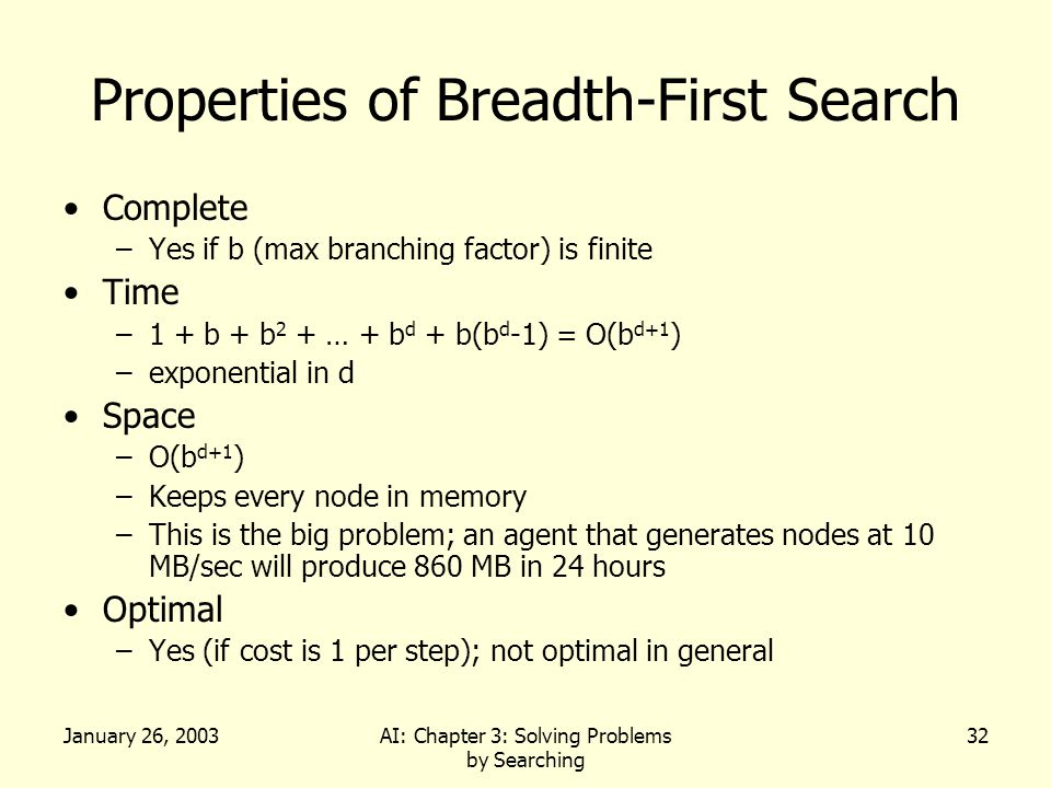 January 26, 2003AI: Chapter 3: Solving Problems by Searching 32 Properties of Breadth-First Search Complete –Yes if b (max branching factor) is finite Time –1 + b + b 2 + … + b d + b(b d -1) = O(b d+1 ) –exponential in d Space –O(b d+1 ) –Keeps every node in memory –This is the big problem; an agent that generates nodes at 10 MB/sec will produce 860 MB in 24 hours Optimal –Yes (if cost is 1 per step); not optimal in general