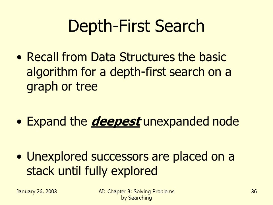 January 26, 2003AI: Chapter 3: Solving Problems by Searching 36 Depth-First Search Recall from Data Structures the basic algorithm for a depth-first search on a graph or tree Expand the deepest unexpanded node Unexplored successors are placed on a stack until fully explored