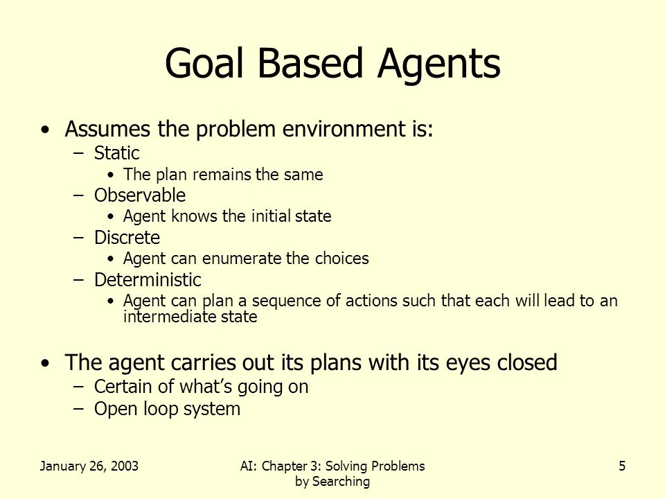January 26, 2003AI: Chapter 3: Solving Problems by Searching 5 Goal Based Agents Assumes the problem environment is: –Static The plan remains the same –Observable Agent knows the initial state –Discrete Agent can enumerate the choices –Deterministic Agent can plan a sequence of actions such that each will lead to an intermediate state The agent carries out its plans with its eyes closed –Certain of what's going on –Open loop system