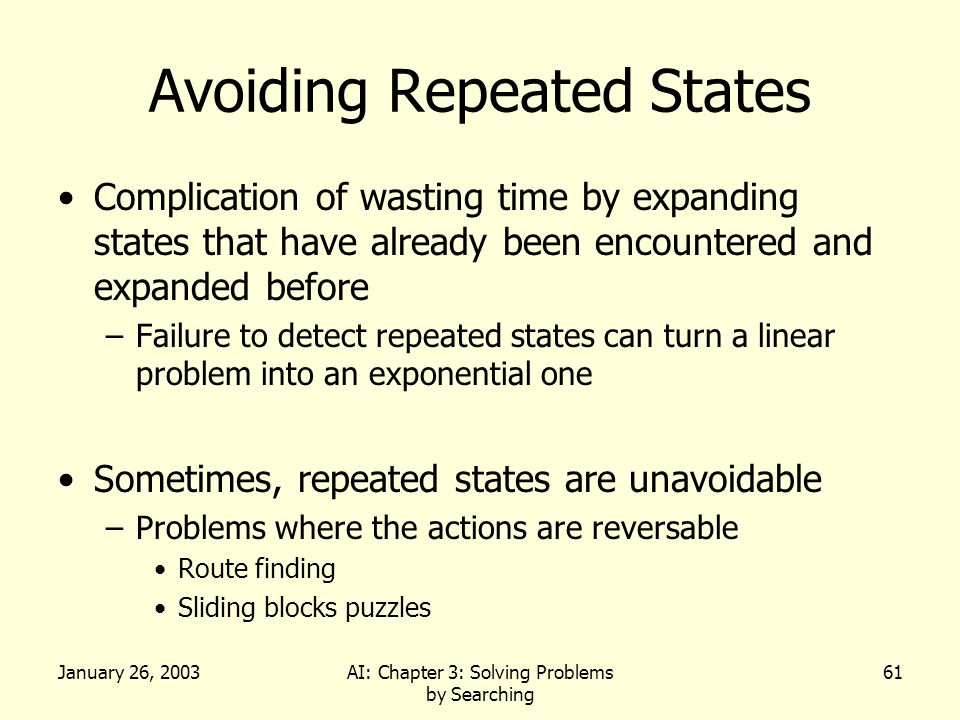 January 26, 2003AI: Chapter 3: Solving Problems by Searching 61 Avoiding Repeated States Complication of wasting time by expanding states that have already been encountered and expanded before –Failure to detect repeated states can turn a linear problem into an exponential one Sometimes, repeated states are unavoidable –Problems where the actions are reversable Route finding Sliding blocks puzzles