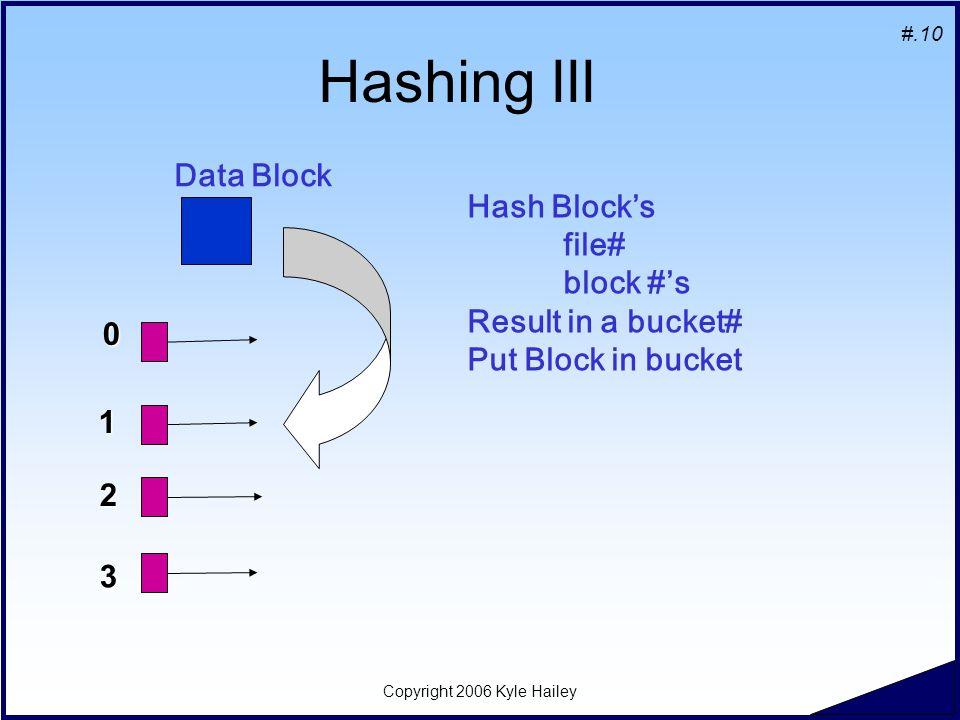 #.10 Copyright 2006 Kyle Hailey Hashing III Data Block 1 2 0 3 Hash Block's file# block #'s Result in a bucket# Put Block in bucket