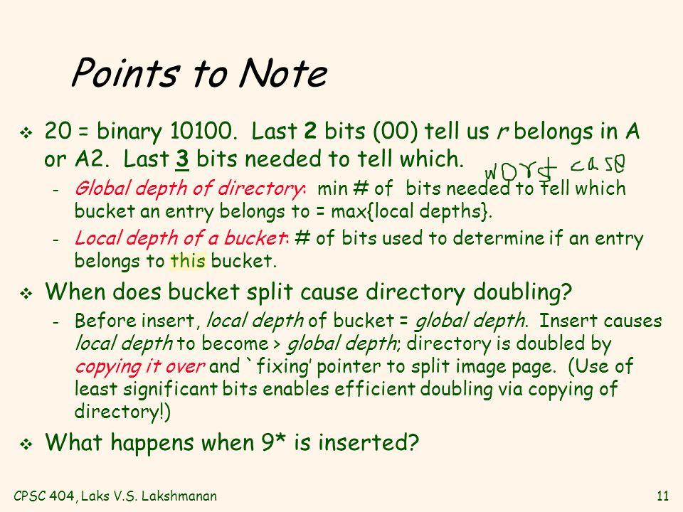 CPSC 404, Laks V.S. Lakshmanan11 Points to Note v 20 = binary 10100.