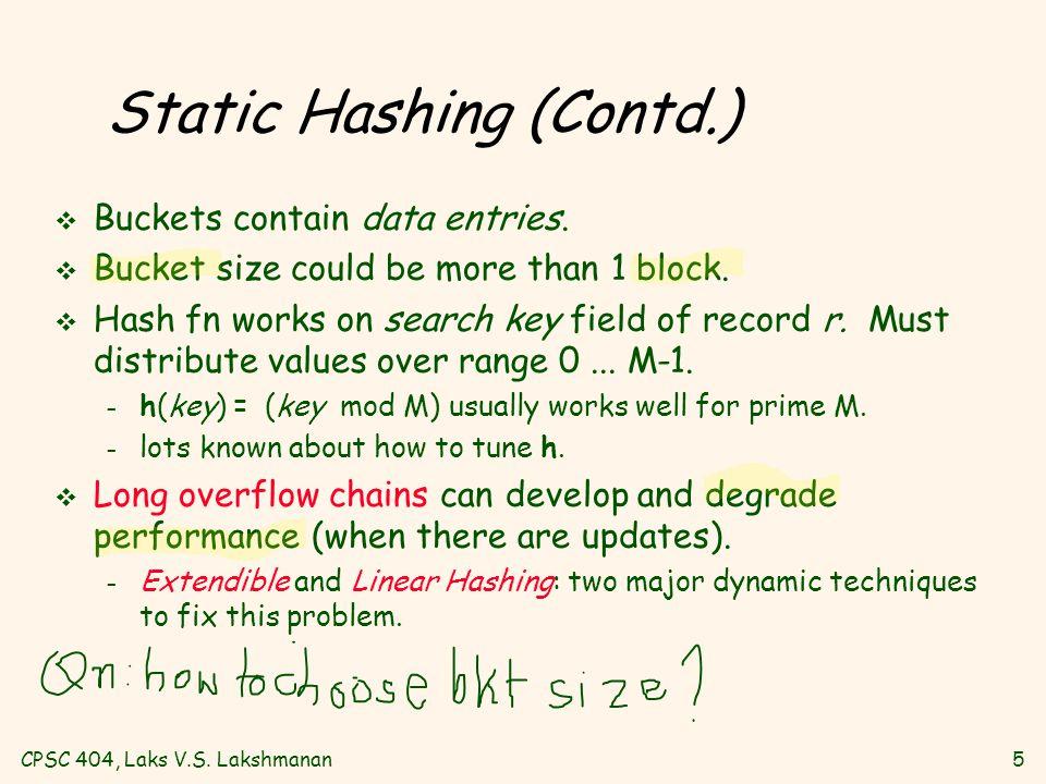 CPSC 404, Laks V.S. Lakshmanan5 Static Hashing (Contd.) v Buckets contain data entries.