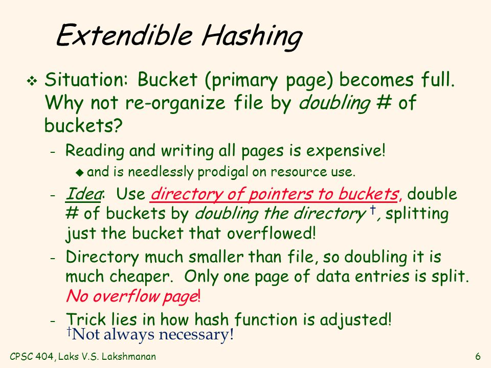 CPSC 404, Laks V.S. Lakshmanan6 Extendible Hashing v Situation: Bucket (primary page) becomes full.