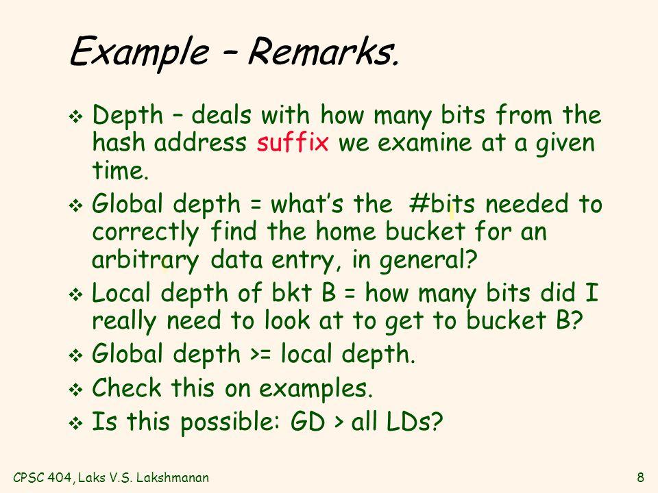 CPSC 404, Laks V.S. Lakshmanan8 Example – Remarks.