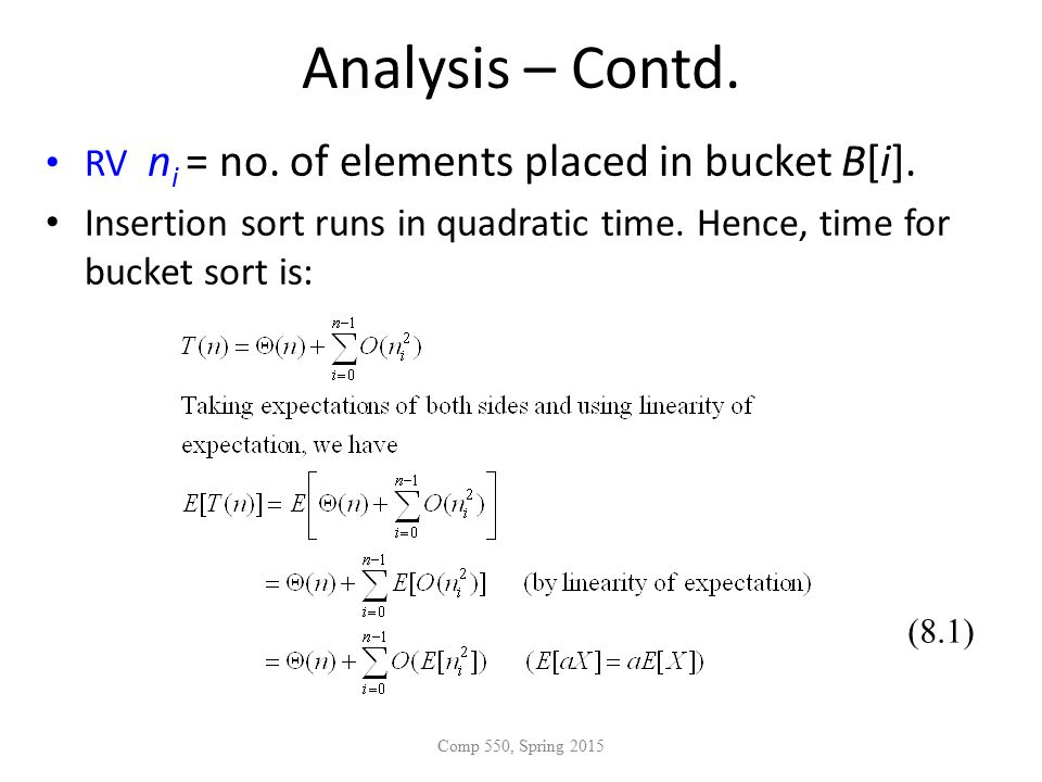 Analysis – Contd. RV n i = no. of elements placed in bucket B[i].
