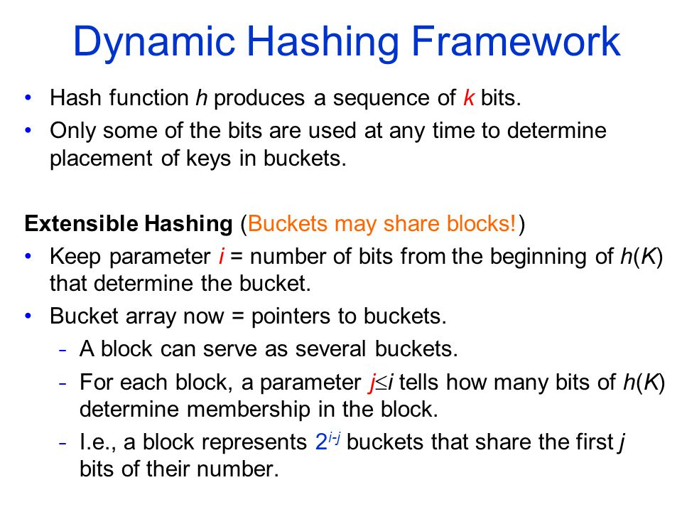 Dynamic Hashing Framework Hash function h produces a sequence of k bits.