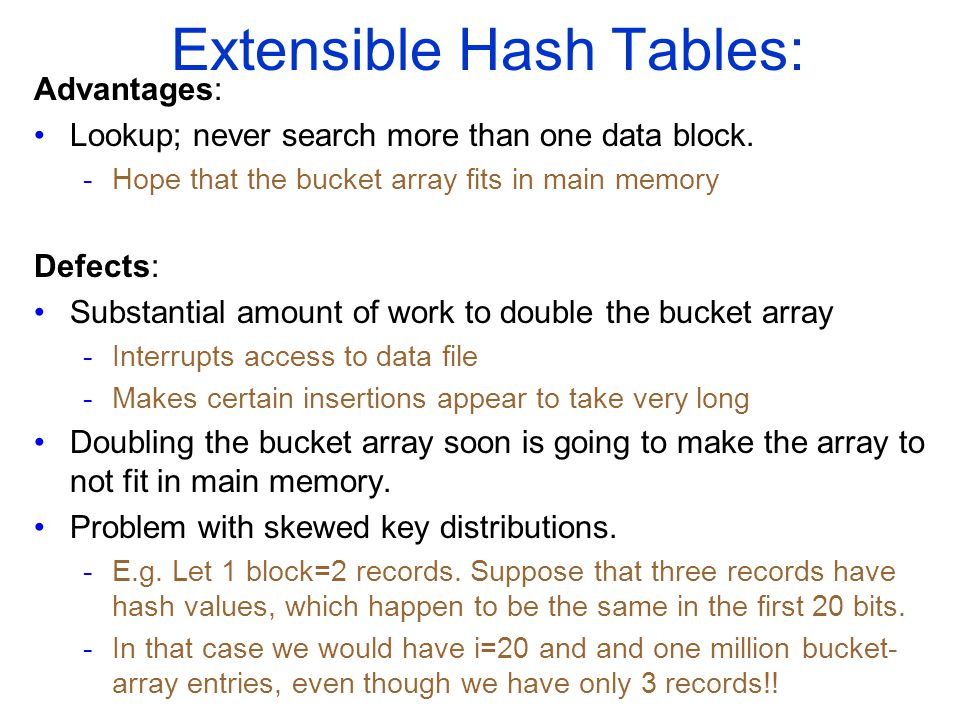 Extensible Hash Tables: Advantages: Lookup; never search more than one data block.