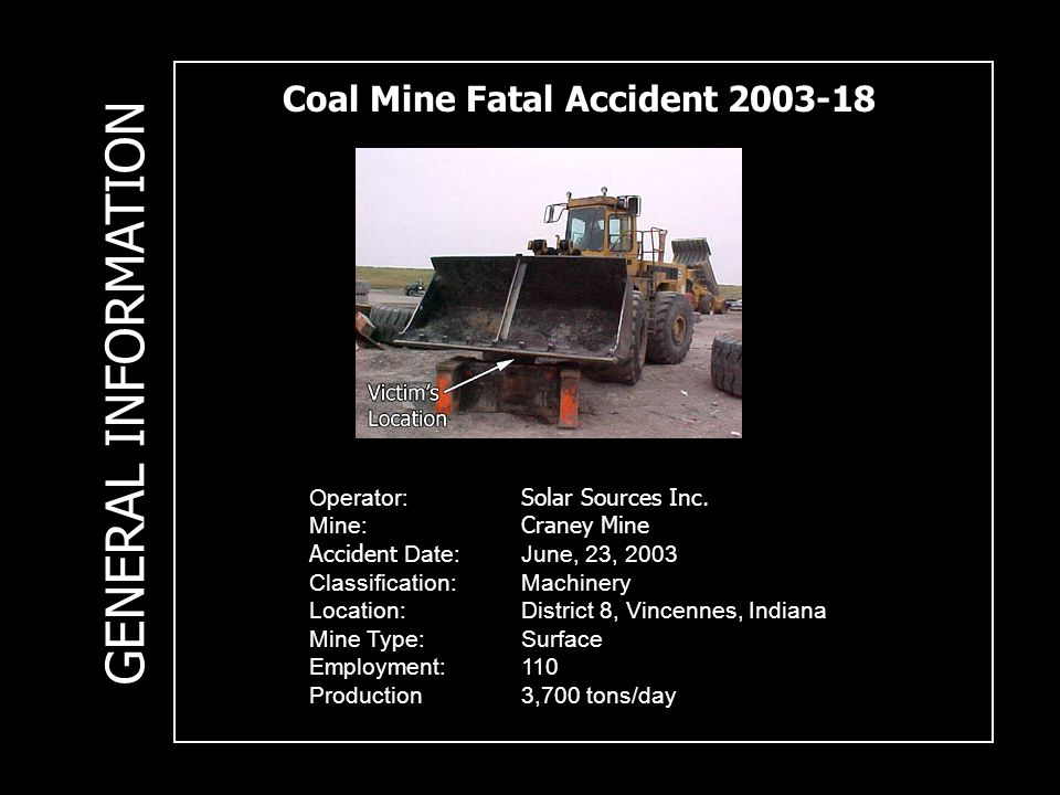 Coal Mine Fatal Accident 2003-18 Operator: Solar Sources Inc.