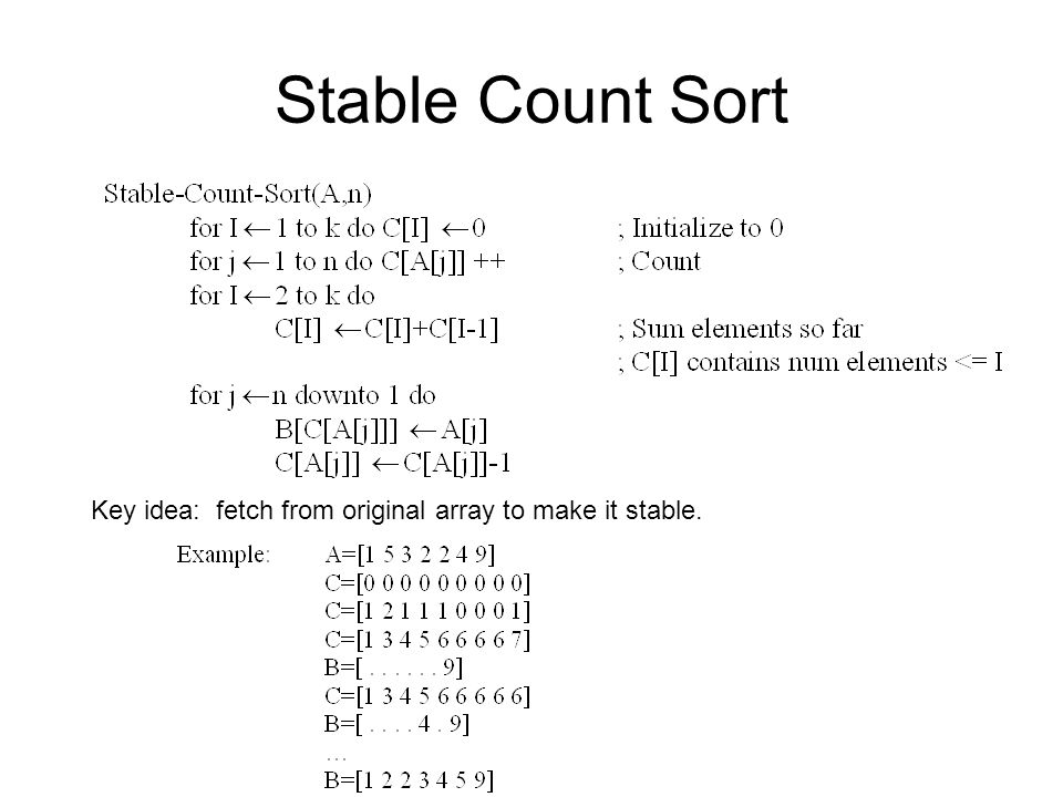 Stable Count Sort Key idea: fetch from original array to make it stable.