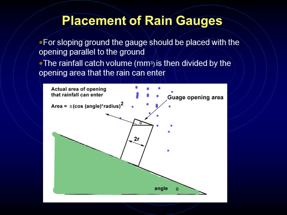 Placement of Rain Gauges  For sloping ground the gauge should be placed with the opening parallel to the ground  The rainfall catch volume (mm 3 ) i