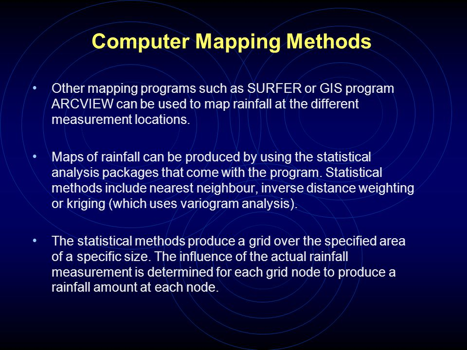 Computer Mapping Methods Other mapping programs such as SURFER or GIS program ARCVIEW can be used to map rainfall at the different measurement locatio