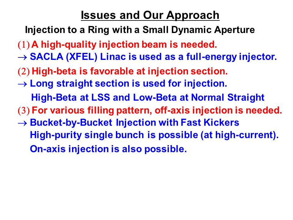 Issues and Our Approach Injection to a Ring with a Small Dynamic Aperture  A high-quality injection beam is needed.