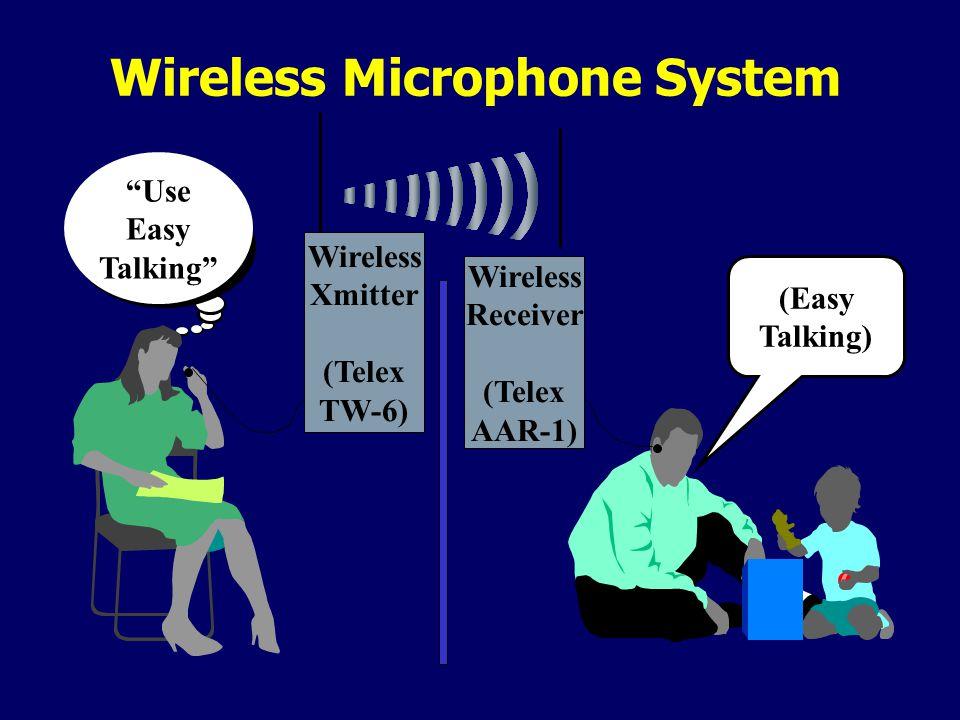 Use Easy Talking Wireless Microphone System (Easy Talking) Wireless Xmitter (Telex TW-6) Wireless Receiver (Telex AAR-1)