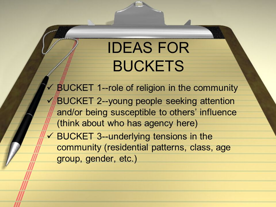 Once you have your buckets AND your thesis… Write an introductory paragraph with your brilliant thesis as the last sentence of that paragraph Write 3 body paragraphs, elaborating on one of the buckets in each of the paragraphs; don't forget to cite docs.