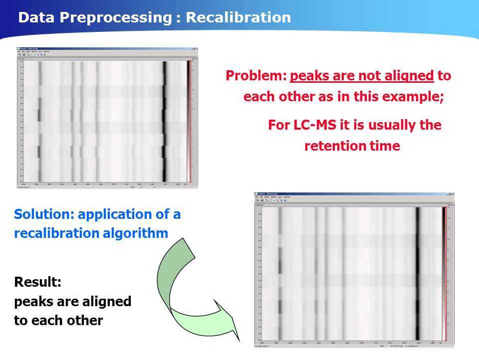Data Preprocessing : Recalibration Solution: application of a recalibration algorithm Result: peaks are aligned to each other Problem: peaks are not aligned to each other as in this example; For LC-MS it is usually the retention time