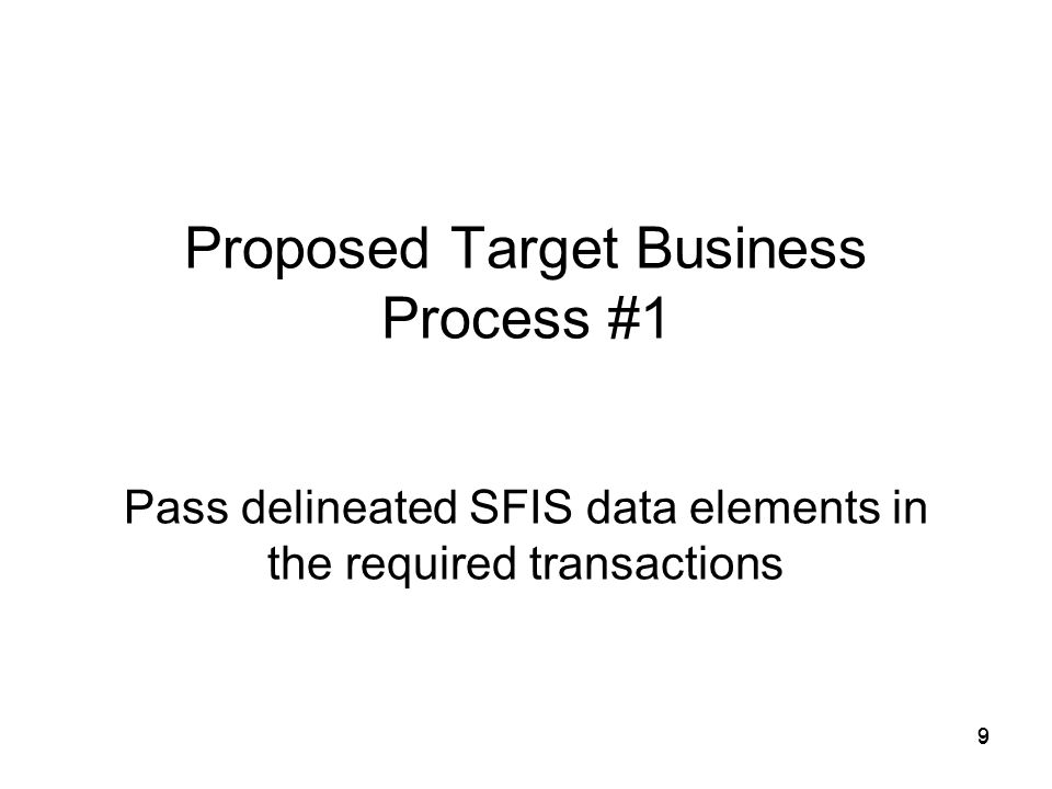 30 Perpetuation of SFIS data Proposed Change - Process Continued 30 Supply Discrepancy Reporting: 9.
