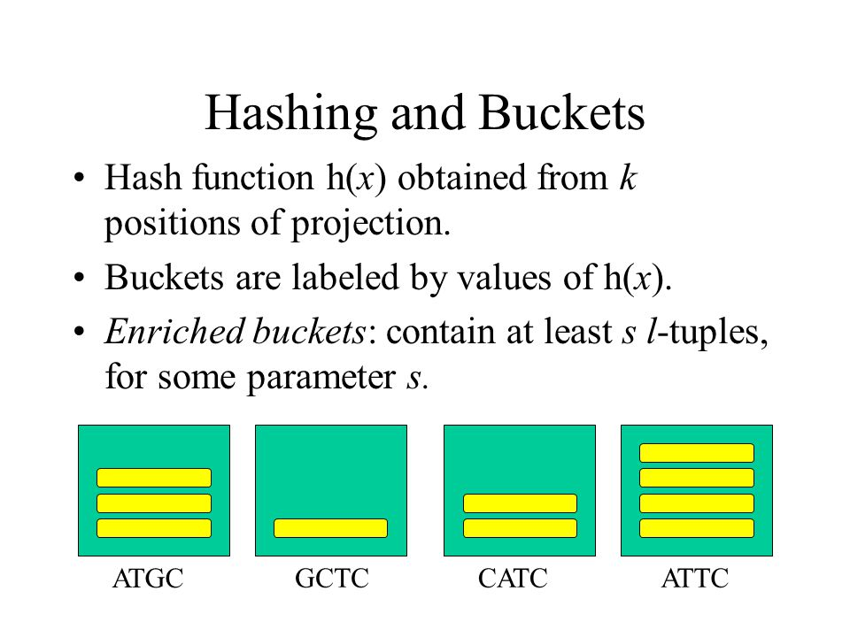 Hashing and Buckets Hash function h(x) obtained from k positions of projection. Buckets are labeled by values of h(x). Enriched buckets: contain at le