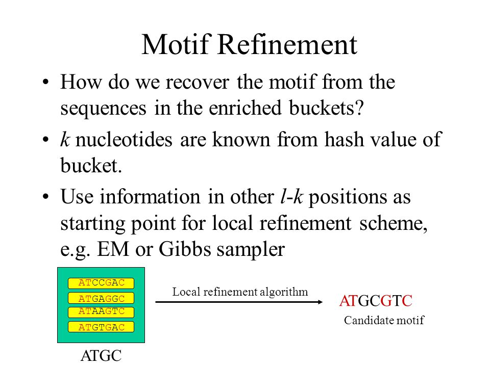 Motif Refinement How do we recover the motif from the sequences in the enriched buckets.