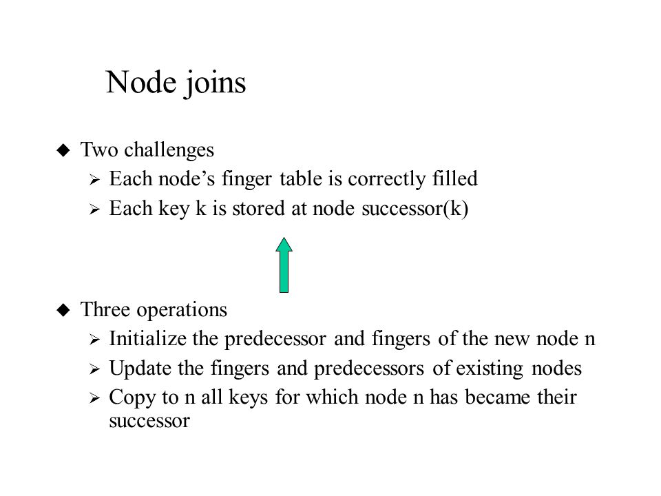 Node joins u Two challenges  Each node's finger table is correctly filled  Each key k is stored at node successor(k) u Three operations  Initialize the predecessor and fingers of the new node n  Update the fingers and predecessors of existing nodes  Copy to n all keys for which node n has became their successor