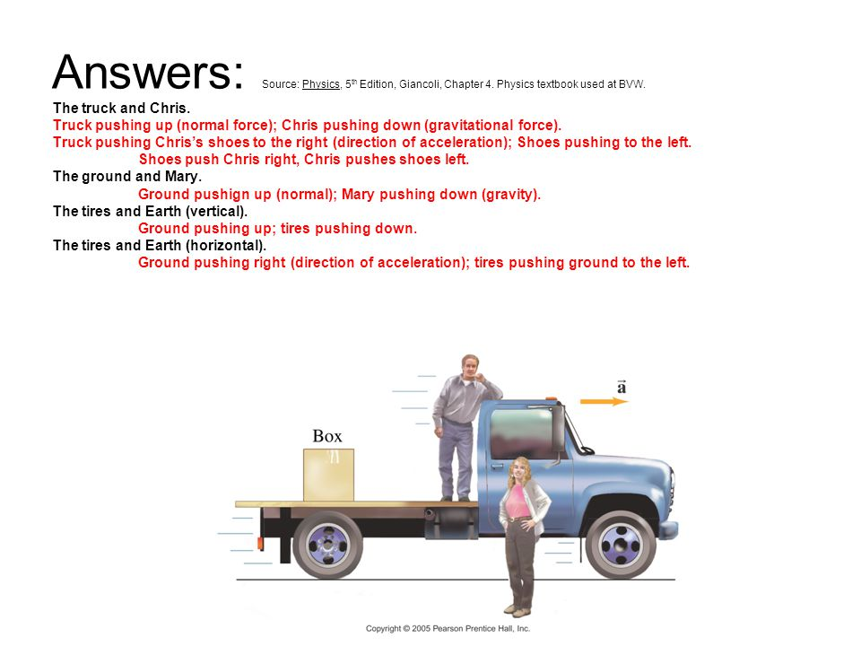 Answers: Source: Physics, 5 th Edition, Giancoli, Chapter 4. Physics textbook used at BVW. The truck and Chris. Truck pushing up (normal force); Chris