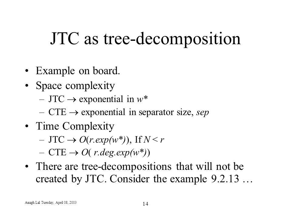 Anagh Lal Tuesday, April 08, 2003 14 JTC as tree-decomposition Example on board.